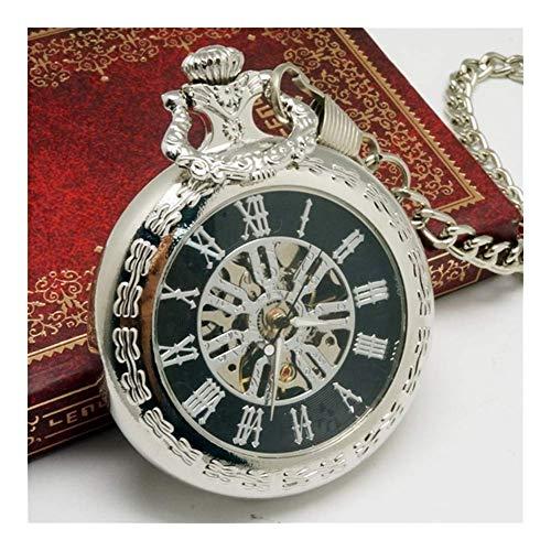 SKYEI Reloj de bolsillo clásico y elegante – Reloj de bolsillo vintage con esqueleto de bronce Steampunk mecánico de bolsillo, reloj de bolsillo para hombre y mujer (color : K)