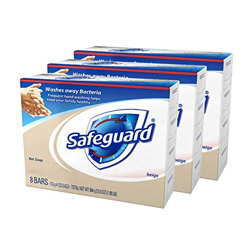 Safeguard Beige Antibacterial Soap, 8-Count: Bath Size Bars, 4 Oz (Pack of 3, total of 24 Bars)