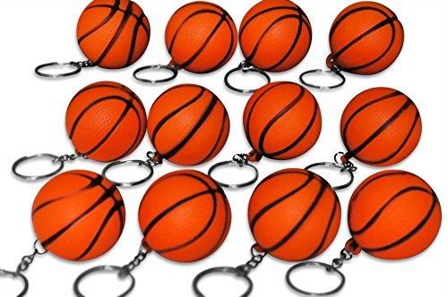 Novel Merk 12 Pack Orange Basketball Keychains for Kids Party Favors & School Carnival Prizes