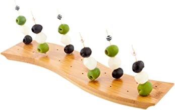 12-IN Curved Bamboo Food Skewer Holder: Perfect for Cocktail Parties and Catering Events – Biodegradable and Eco-Friendly Pick Stand and Food Display – 20-holes – 1-CT – Restaurantware