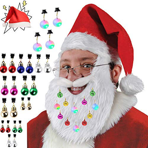 Emopeak - Juego de 24 Adornos de Navidad para Barba con Gorro de Papá Noel, 20 cascabeles sonorizantes, 4 Luces...