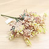 Vintage Flor Falsa de plástico Orejas de Trigo Falsas Ramo de Plantas Flor Artificial en florero Plantas de bonsái Falsas Decoración de atmósfera de otoño Mesa de casa de Boda de Navidad,White Pink