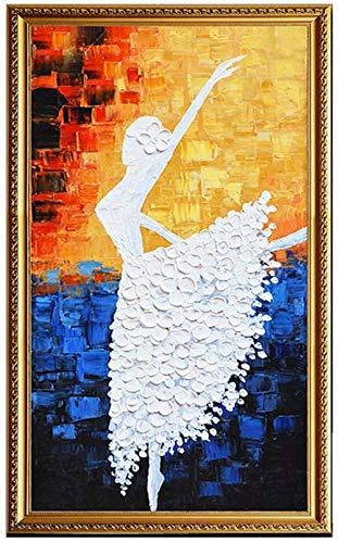 DINGDONG ART Leinwand Bilder 60x80cm Kein Rahmen Hand Dickes Textur Öl Mit Abstrakte Kunst Ballerina Mädchen Modernes 3D Öl 100% Handgemalte Wandkunst Dekoration Bunt