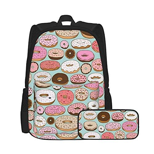 Asual - Juego de mochila y estuche para lápices, bolsa para ordenador portátil y estuche combinación, mochila de trabajo y estudio y bolsa de cosméticos, Donuts Donuts Navidad