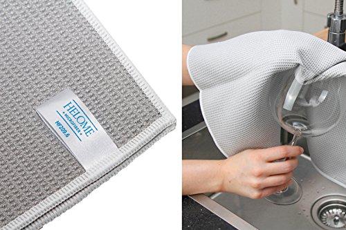 10x Microfaser-Trockentuch und Geschirrtuch - Microfasertuch für Bad und WC, Küche, Auto im Haushalt und Gewerbe. Trocknet Auto-Fenster, Duschkabinen, Gläser, Besteck und Geschirr streifenfrei