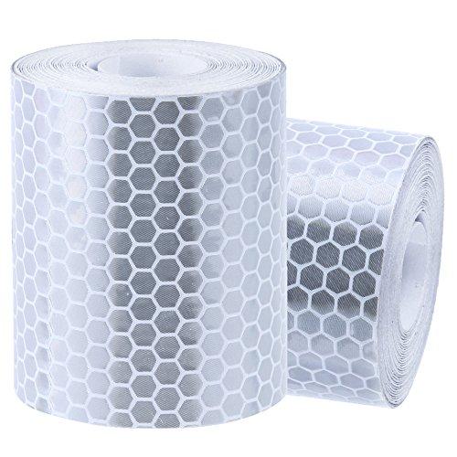Rovtop Reflektorband Klebeband für Sicherheit Warnklebeband Sicherheit Markierung Band Silberweiß 2 Rolle 5 * 300cm