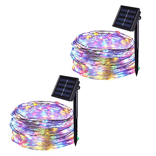 JMEXSUSS 2 Pack 8 Modes 100 LED 32.8ft Solar Powered Waterproof Fairy String Copper Wire Lights for Christmas, Bedroom, Patio, Wedding, Party, (Multi-Color)