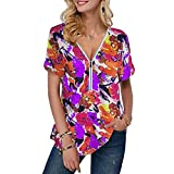 Camiseta De Manga Corta con Estampado Suelto con Cremallera Y Cuello En V De Moda para Mujer