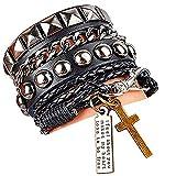 Y-blue - Braccialetto in pelle e corda unisex alla moda punk multistrato, bracciale rigido con frase e croce, base metal, colore: Black, cod. SRUK0309