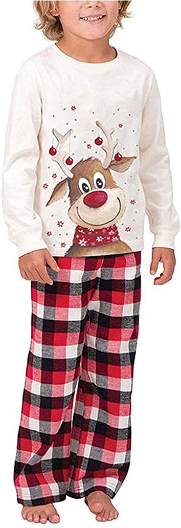 Family Christmas Pjs Matching Sets Deer Plaid Jammies for Baby Adults and Kids Holiday Xmas Sleepwear Set