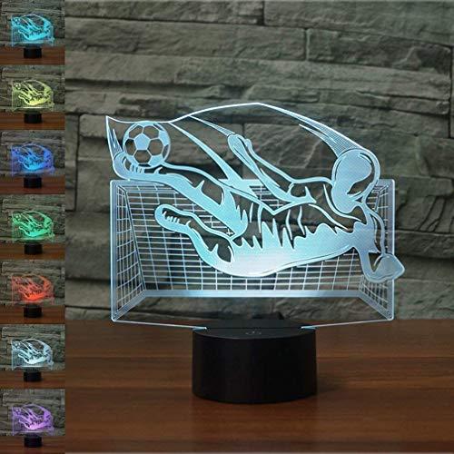 Luz de noche de portero de fútbol 3D 16 colores que cambian USB Power Touch Switch Decoración Lámpara Lámpara de ilusión óptica Lámpara de escritorio de mesa LED Niños Regalo para niños