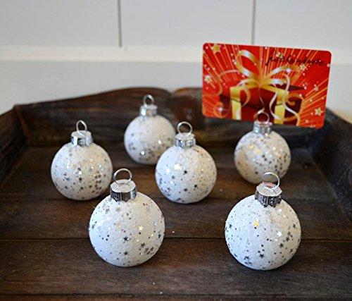 Platzkartenhalter Weihnachtskugel 6 Stück! Set weiß Tischkartenhalter Weihnachten Kartenhalter 4cm