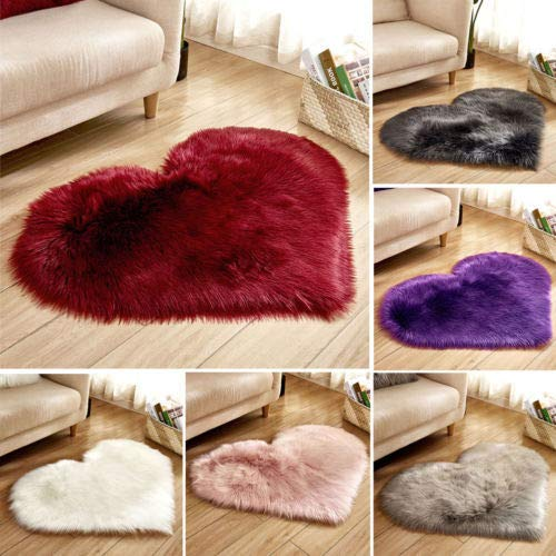 Faux Fur Bedroom Carpets, Heart-Shaped Fluffy Soft Carpets, Fluffy Floor mats, Non-Slip Luxury Carpets Home Decoration (30x40cm, Light Grey)