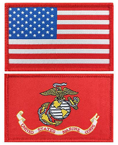 QQSD 2 Pack US Marine Corps Flag Patch Army Force Flags Pride Patch Tactical Flag Patch for Backpack Hat Patch Team Military Patches