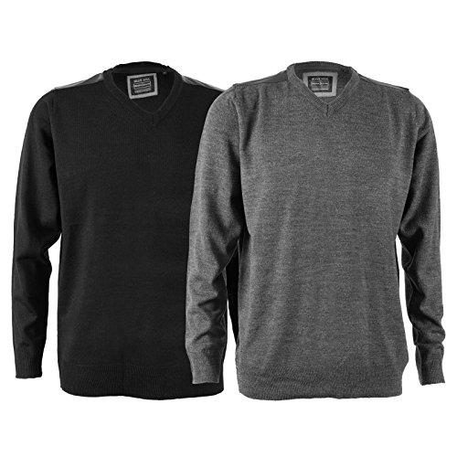 Mens Brave Soul-Maglione lavorato a maglia con collo a V, Maglia, Taglia da maglia in acrilico Bianco grigio