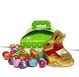 Composizione Artigianale PASQUA Scatola Cartoncino 26 Ovetti Assortiti ripieni Lindt + 1 gold bunny e 2 mini gold bunny