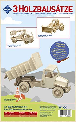 Pebaro 863 Holzbausatz 3D Puzzle-3-teiliges Baufahrzeuge-Set