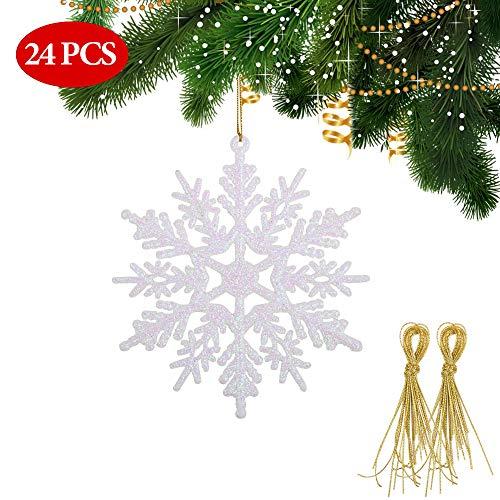 FLOFIA 24pcs Copo de Nieve Colgante Adorno para Árbol De Navidad Copo de Nieve...