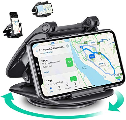 Eono by Amazon -Soporte Móvil para Coche, Rotación de 360º, Potente Ventosa y Compatible con Sistemas de Navegación por Satélite, Dispositivos GPS, iPhone, Samsung, Android, etc, Negro