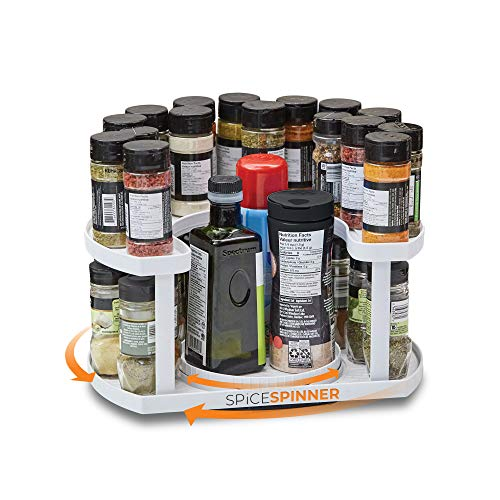 Spice Spinner Two-Tiered Spice Organizer & Holder That Saves Space, Keeps Everything Neat, Organized & Within Reach With Dual Spin Turntables