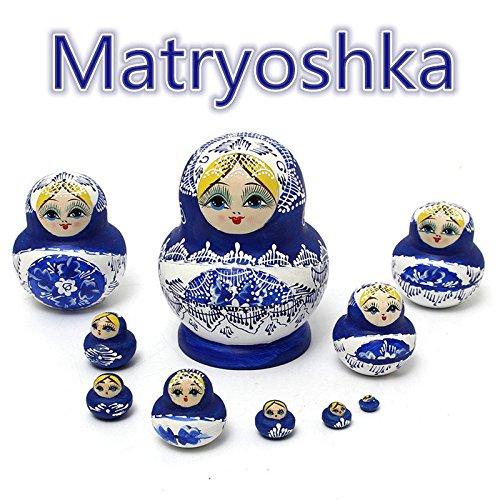 paleo 1set 10PCS bambole russe di legno dipinto a mano Nesting Babushka Matryoshka present Gift