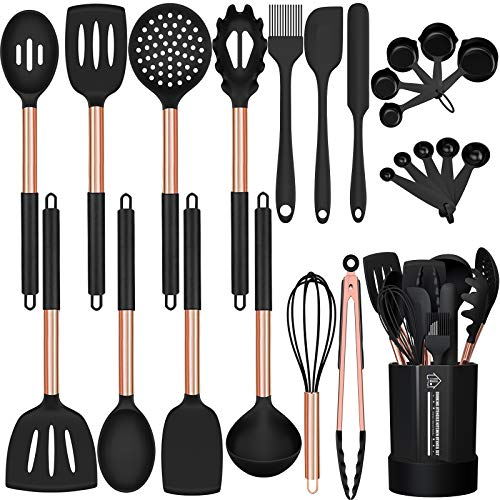 Silicone Cooking Utensil Set, Fungun 24pcs Silicone Cooking Kitchen Utensils Set, Non-stick Heat Resistant - Best Kitchen Cookware with Copper Stainless Steel Handle - Black(BPA Free, Non Toxic)