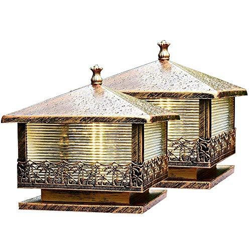 2 Pack Bronze Antique Post Lamps | Die-cast Iron Pillar Light with Glass Panels | Exterior Landscape Lantern Lighting Fixture - Outdoor Deck, Patio, Garden, Décor or Fence Column Lights