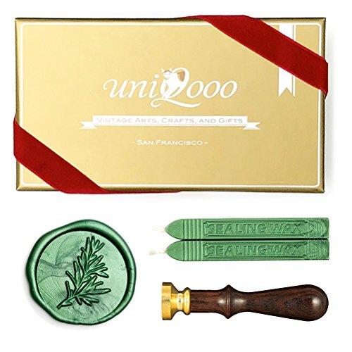 UNIQOOO Arts & Crafts Rosemary Botanical Twig Green Plants Wax Seal Stamp Kit, 2 Emerald Green Wick Wax Sticks, Great Embellishment of Xmas Greeting Cards, Wedding Invitations, Snail Mails, Gift Ideas