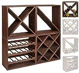 Casier à bouteilles de vin - Système modulaire CUBOX 50 - Mod. Dunkel 24 'X' - Capacité jusqu'à 24 bouteilles de 75 cl. - Taille 50 x 50 x 25 cm. en pin FSC - Marron