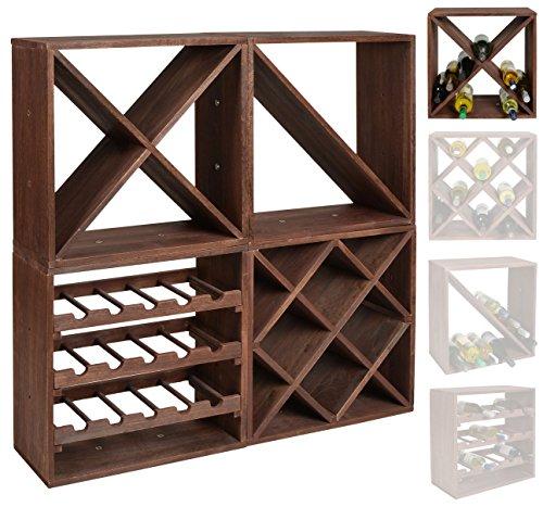 ts-ideen scaffalatura cubica per bottiglie di vino, impilabile, colore: marrone scuro, Legno, Dunkelbraun, Weinregal X