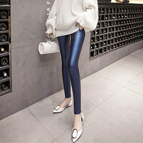 Leggings más Cachemir Leggings para Mujer Otoño Invierno Nuevo Vintage De Cintura Alta Spandex Plus Velvet Skinny Leather Pencil Pants Mujer XXXL Bluethin