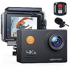 APEMAN Action Cam A79, 4K WiFi 20MP Underwater Camera Digital Waterproof 40M Helmet Camera (2.4G Remote Control i kamera internetowa z zewnętrznym mikrofonem)