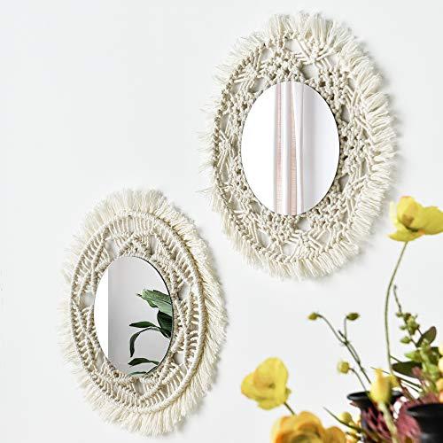 Espejo de pared con diseño de macramé, 2 piezas, hecho a mano, macramé, colgante bohemio, con flecos, redondos, decoración para apartamentos, sala de estar, dormitorio, cuarto de bebé