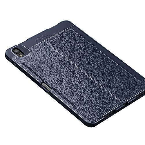 Funda para iPad Pro 11 2020 con Portalápices, Funda Inteligente De Cuero Con Diseño De Lichee, Parte Trasera De TPU Suave, Reposo / Activación Automático [Compatible Con Carga De Lápiz De Apple],Azul