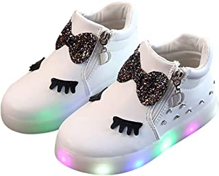 Hopscotch Girls PU Bow Applique LED Sneakers in White Color