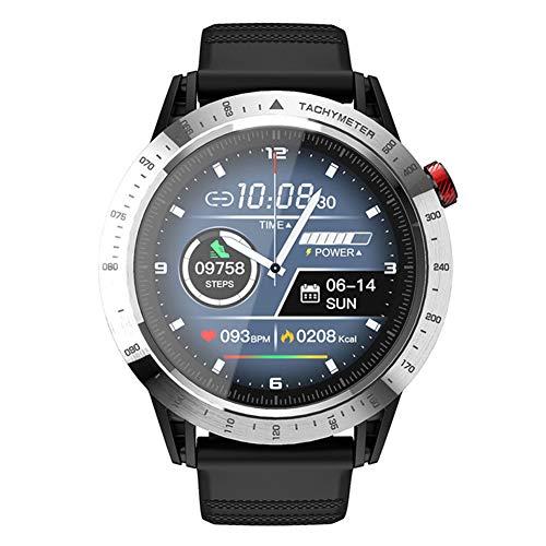 Hombre Militar Reloj Inteligente 1.3'Pantalla táctil Completa Deporte GPS Reloj de Pulsera Impermeable Bluetooth Reloj de Fitness con Monitor de Ritmo cardíaco/sueño Podómetro Cronómetro (Silver)