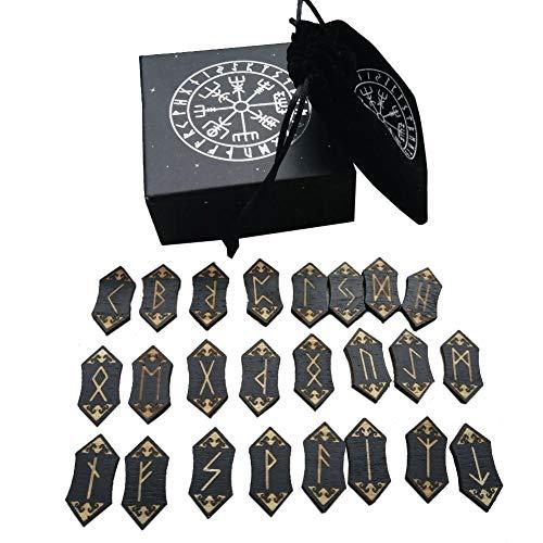 Presentimer Set Di Carte Rune Stones - Runa Nordica Fatta A Mano In Legno Con Custodia