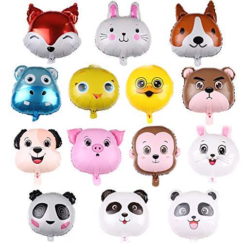 REYOK Folienballon Tiere,14-Pack Helium Folie Luftballon Tier Ballons Luftballons Dschungel Tierballons Kindergeburtstag - Helium ist Erlaubt, Perfekt für Kinder Geburtstag Party Dekoration