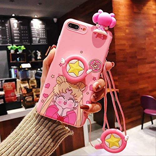 LIMITED Cute Cartoon Sailor Moon Pink Phone Case para iPhone 11 Pro X 8 7 6s Plus XS MAX XR Soft 3D Doll Toys Stand Cordón Contraportada para iPhone 6 6s 01