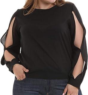 KLJR Women Long Sleeve Plus Size Chiffon Hollow Out Solid Top T-Shirt Blouse