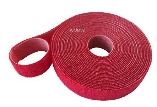 VELCRO marca gancho y lazo Cable amarra ajustable ROLLOS trasero en la parte posterior ROBUSTO EN ROJO 2cm de ancho - Rojo, 1 Metre