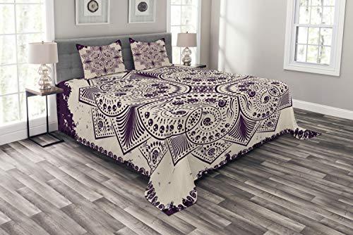 ABAKUHAUS lila Mandala Tagesdecke Set, Schneeflocke Form, Set mit Kissenbezügen Sommerdecke, für Doppelbetten 220 x 220 cm, Dunkel Violett & Grau weiß
