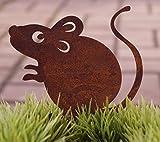 Dekostüberl Rostalgie Figura decorativa de ratón Marvin con tornillo (10 x 8 cm)...
