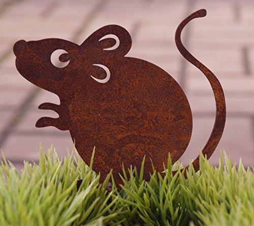 Dekostüberl Rostalgie Edelrost Maus Marvin mit Schraube 10x8cm für Holz Gartendekoration Tierfigur
