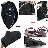 Funda de sill/ín 91432 Talla L Air Grip Bombilla Compatible con Sym HD 125 EVO Scooter Moto Cubierta sill/ín Negro Antideslizante