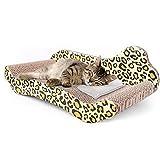 EREW Adecuado para sofá de Gato, rascador de Gato, cartón Reciclado rascador de Gato Corrugado, 2 tamaños, Color Leopardo, Adecuado para Gatos pequeños y medianos, Hierba gatera,L