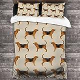 Bloodhound perro decorativo juego de cama de 3 piezas con 2 fundas de almohada 3 piezas juego de cama funda de edredón 86 'x70'