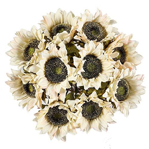 Floralsecret 10 piezas de girasoles artificiales de un solo tallo rústico falso flores para la habitación de la granja decoración del hogar del hotel (blanco)