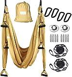 HELIZ Columpio de Yoga, Kit de Hamaca Yoga Aéreo, Mosquetones de Bordes Lisos, para Hogar, Gimnasio, al Aire Libre (Dorado)