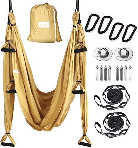 HELIOZ Dorado Columpio de Yoga, Kit de Hamaca Yoga Aéreo, Mosquetones de Bordes Lisos, para Hogar, Gimnasio, al Aire Libre